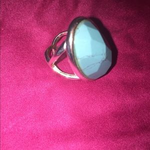 Turquoise & Silver Costume Ring